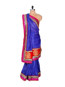 Blue Art Silk Saree - Hypno Tex