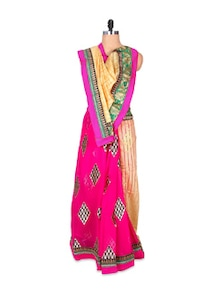 Designer Pink And Cream Art Silk Georgette Saree - Hypno Tex