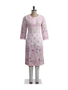 Pink Embroidered Kurta - Ada