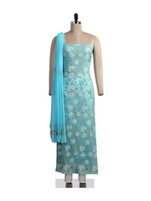 Blue Floral Chikankari Suit Piece - Ada