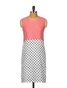 Polka Dotted Kurta With Striped Red Bodice - Popnetic