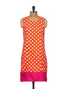 Orange Polka Dotted Kurta With Bright Pink Hemline - Popnetic