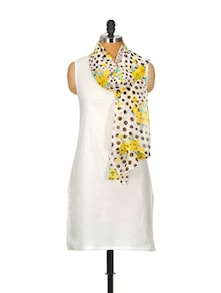 Solid White Kurta With Attached Polka-Floral Stole - Popnetic