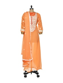 Orange Anarkali With White Thread Work - Purple Oyster