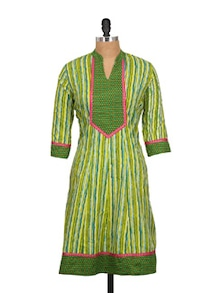 Green And Yellow Printed Kurta - Kwardrobe