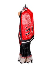 Bhagalpuri Silk In Black & Red - Khantil