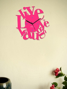 Spirited Live, Love, Laugh Pink Wall Clock - Zeeshaan