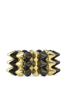 Black And Golden Spike Adjustable Bracelet - Fayon