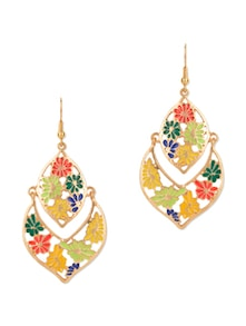 Multicolour Enamel Flower Drop Earrings - Fayon