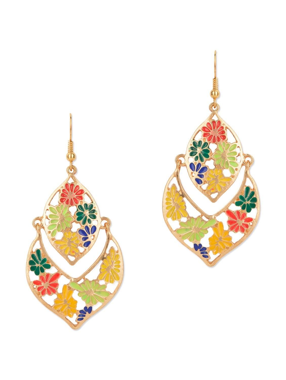 Multicolour Enamel Flower Drop Earrings - Fayon
