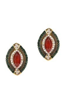 Red Green Stone Stud Earrings - Fayon
