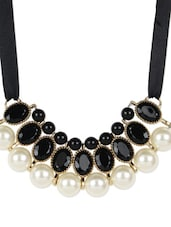 Bold Black and Golden Necklace and Earrings Set -  online shopping for Necklaces