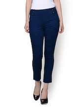 Buttoned Blue High Waist Trousers - Rider Republic