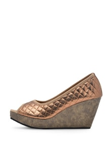 Stylish Copper Peep Toe Wedges - Soft & Sleek