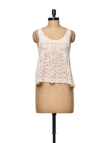 Light Pink Cotton Crochet Crop Top - TREND SHOP