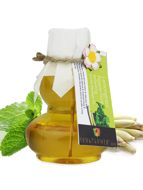 Lemongrass And Peppermint Refreshing Aroma Massage Oil - SOULFLOWER