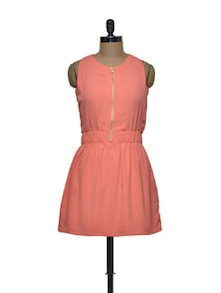 Front Zippered Coral Skater Dress - Femella