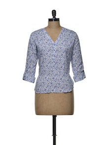 Floral Blue Cotton Blend Shirt - Femella