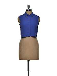 Collared Indigo Crop Shirt - Femella