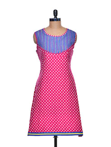 Polka Pink Kurta With Colour Blocked Yoke - Paislei