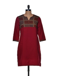 Simple Maroon Kurta With Printed Yoke - Paislei