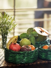 Set Of 3 Bright Green Coiled And Weaved Newspape Fruit Cum Vegetable Baskets - ExclusiveLane