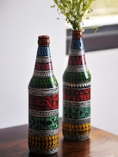 Set Of 2 Handpainted Bottle Shaped Vases - ExclusiveLane