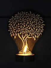 Engraved Wooden Table Cum Wall Tealight Holder - ExclusiveLane
