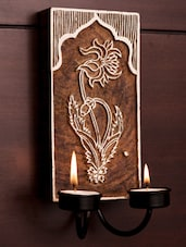 ExclusiveLane Wooden Carved Wall Hanging Tealight Holder - ExclusiveLane