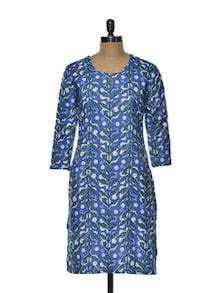Blue Leaf Print Kurta - Arya Fashion