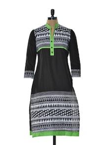 White And Black Printed Kurta - Arya Fashion