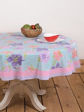 Blue And Pink Round Print Table Cover - Ocean Collections