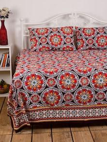 Red Flower Print Bed Sheet With  Pillow Covers - Ocean Collections