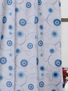 Blue And White Flower Print 2 Pecs Window Curtain - Ocean Collections