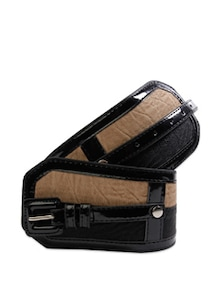 Brown And Black Broad Waist Belt - Belts By Just Women