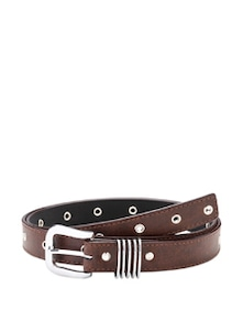 Brown Metal Embellished Belt - Oleva