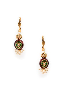 Enamel Work And Pearl Cluster Earrings - OARS