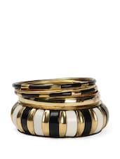 Monochrome Gold Metallic Bangle Set - Toniq