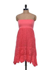 Convertible Pink Crochet Skirt/ Dress - Shimaya