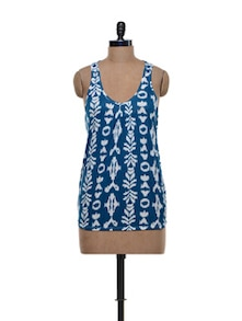 Blue And White Racer Back Top - Shimaya