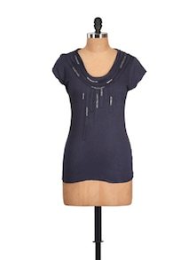 Interesting Dark Blue Viscose Top - Myaddiction