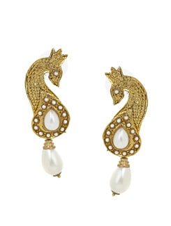 Gold And White Handcrafted Earrings - KSHITIJ