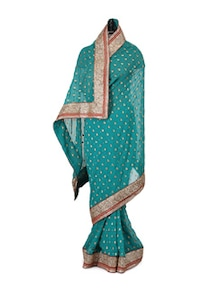 Georgette Teal Green Saree With Crystals - Libas