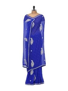 Embellished Chiffon Saree In Sheer Royal Blue - Libas
