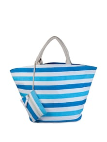 Turquoise Striped Canvas Handbag - YOLO - You Only Live Once
