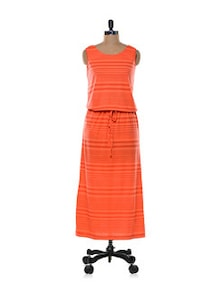 Coral Maxi Stripe Dress - Color Cocktail