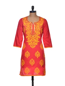 Coral Kurta With Delicate Sequin Work - Sohniye