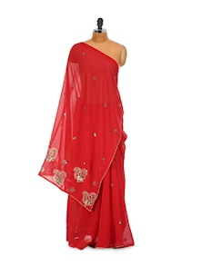 Simply Red Chiffon Saree - LIME