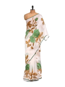 Flowers In The Wilderness Georgette Saree - LIME
