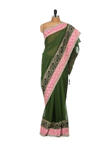 Mehandi Green Chiffon Saree - LIME